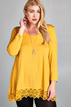 Round Neck Tunic Top With Lace Detail (Plus Size) - Mustard