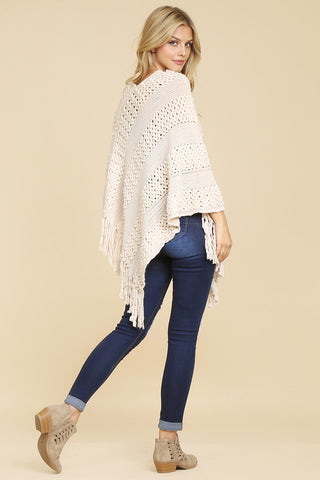 Classic Fringe Poncho in White- ONE SIZE