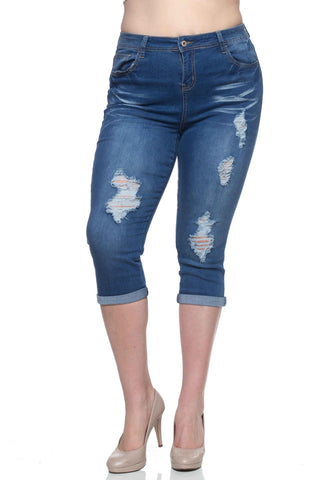 Distressed Denim Capri - Plus - Indigo wash