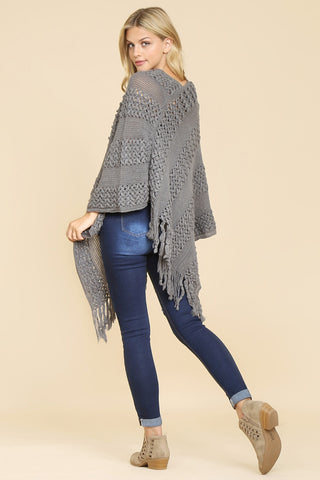 Classic Fringe Poncho in Gray - ONE SIZE