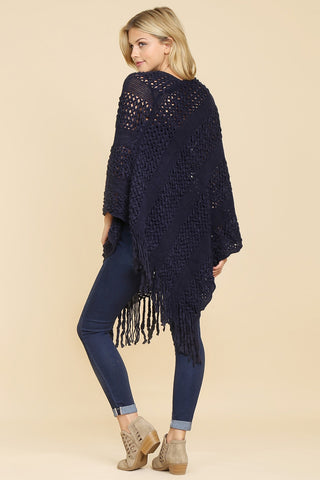 Classic Fringe Poncho in Black - ONE SIZE