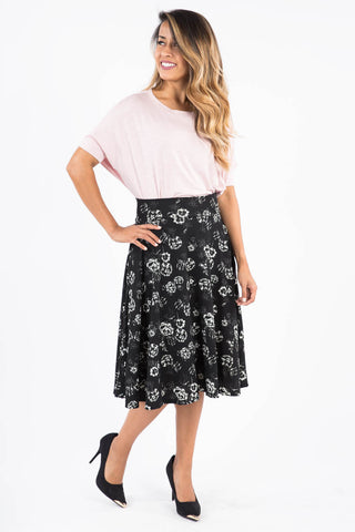 Midi Skirt - Black with White Flowers