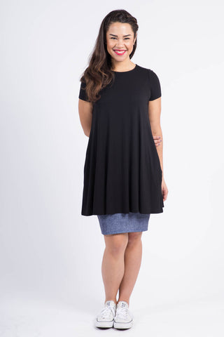 Swing Tunic - Black - Cap Sleeve