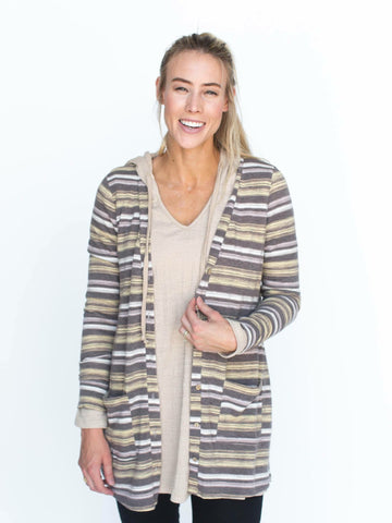 Essential Cardigan - gray and yellow stripe