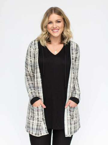 Essential Cardigan - Black and White Plaid