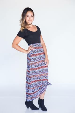 Maxi Skirt - Blue & Orange Stripe