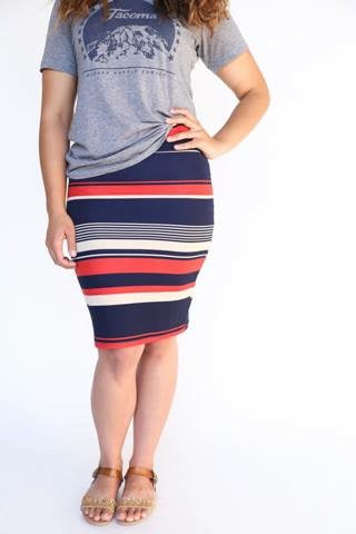 Pencil Skirt - Red, Blue, Tan Stripe