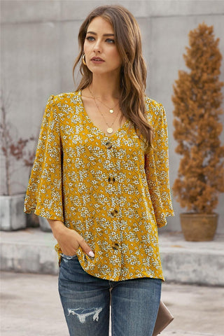 Osmanthus Print Button Up Blouse