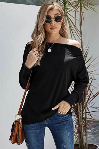 Black Ribbed Zip Knit Top