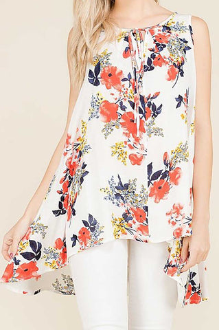 Sleeveless Floral Print Blouse In Ivory - Plus