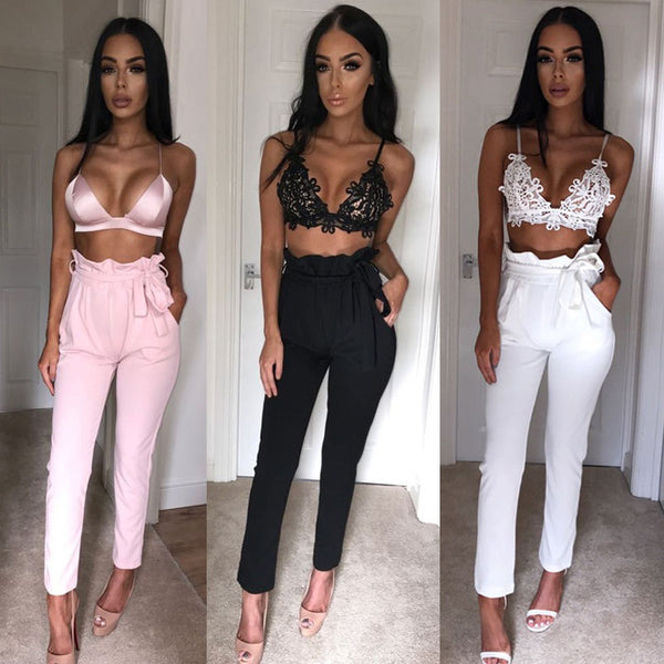 2018 NEW Women High Waist Slim Skinny Leggings Stretchy Bow Belt Drawstring Pants Jeggings Pencil Trousers
