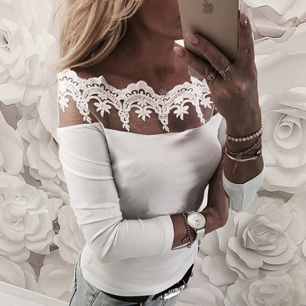 2018 Sexy Lace Blouse Shirt Women Long Sleeve Floral White Blouses Female Tops Elegant Fashion Blouse Shirts blusas femme