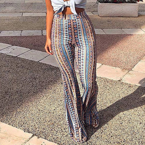 2018 Women Striped Printed New Boho Flare Pants High Elastic Waist Vintage Soft Stretch Ethnic Style Bell Bottom Hippie Pants