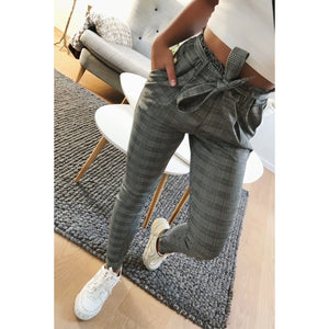 2019 New elegant Houndstooth plaid pants pockets  retro office lady wear casual fashion with sash trousers mujer