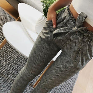 2019 OL high waist harem pants bow tie drawstring sweet elastic waist pockets casual trousers pantalones