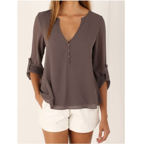 Women Shirts Autumn Casual V-neck Chiffon Blouse Womens Tops