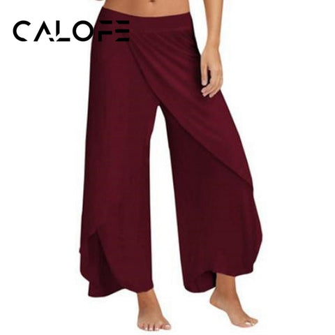 CALOFE Wide Leg Pants Chiffon Women Fit 5XL High Waist Solid Elegant Vintage Fashion Bottoms Summer Long Pant Female Plus Size