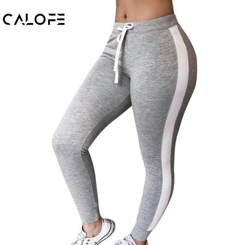 CALOFE Women Fashion Slim Fitness Long Pants Casual Side Striped Elastic Waist Gyms Leggings Jogger Sweatpants Female Trousers