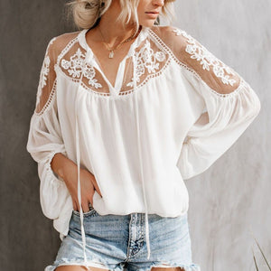 COCKCON Women's V-Neck Casual Lace Mesh Stitching Long Sleeve Perspective Ruched Blouse