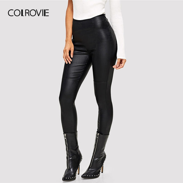 COLROVIE Black PU Skinny Leather Pants Office Lady High Waist Trousers Women Clothes Autumn Stretchy Women Pencil Pants