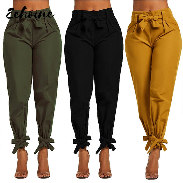 Echoine Women Summer/Autumn Bow Sashes High Waist Pencil Elegant Pants Vintage Fashion Long Trousers Green/Yellow/Black S-XL