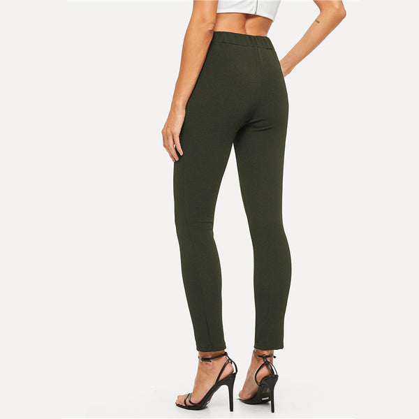 SHEIN Elastic Waist Mid Waist Skinny Trousers Autumn Office Lady Elegant Slim Fit Vertical Women Pencil Pants