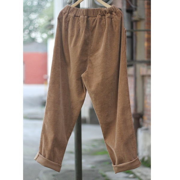 Elastic waist Cotton Corduroy Loose Women Harem Pants New Casual Brand Pants Red Green Plus size Harem Trousers Femme A044
