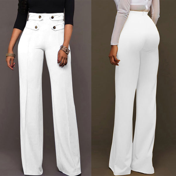 Elegant Women's Pants Celmia 2019 Spring Summer Solid High Waist Buttons Wide Leg Pants Office Lady Straight Slim Trousers Femme