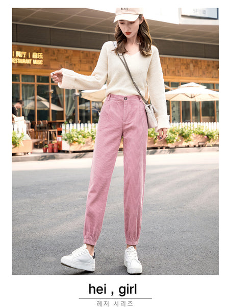 Women Pants Autumn Winter Corduroy Pants High Waist Trousers Plus Size Harem Pants Fashion Overalls Beam Pants pantalones mujer