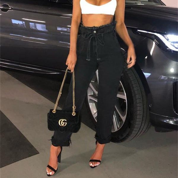 InstaHot Drawstring Zipper Straight Pencil Jeans Women Loose Casual High Waist Cowboy Long Pants Denim Streetwear Free Shipping