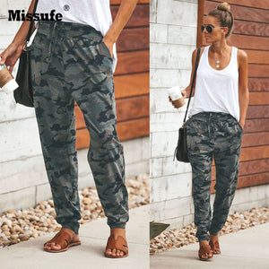 Missufe Camouflage Print Long Pant Women Pocket Bandage Full Length Trousers Female Sporwear Workout Loose Pants Retro 2018