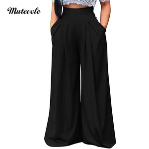 Mutevole Summer Women Wide Leg Pant Casual Loose Trousers Ladies Boho Beach High Elastic Waist Pants Pantalon Femme Streetwear