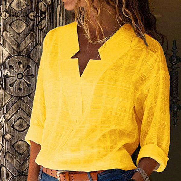 Nadafair Cotton Yellow Loose Blouse