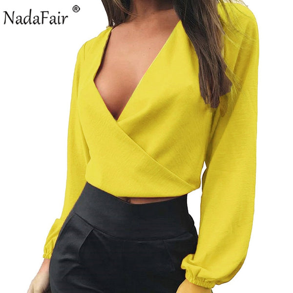 Nadafair Long Sleeve V Neck Backless Bow Short Chiffon Blouse