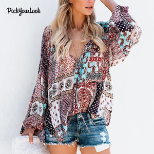 Women Tops And Blouses Long Sleeve Bohemian Beach Blouses