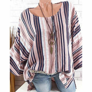 Plus Size 4xl Women Tops Raglan long Sleeve Blouse ladies casual loose Cotton Linen Striped Baggy Tunic o neck blouses