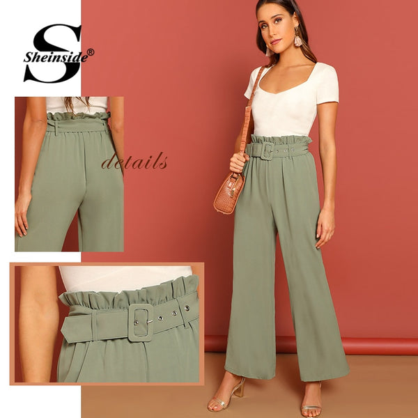 Sheinside High Waist Belted Wide Leg Pants Women Green Pastel Ruffle Details Elegant Trousers 2019 Female Loose Pants and Capris