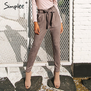 Simplee Suede high waist pencil pants capris Women bottom sash streetwear casual pants 2017 Autumn chic black winter trousers