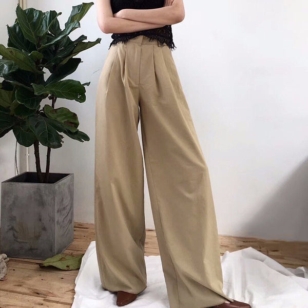 TWOTWINSTYLE Women's Wide Leg Pants High Waist Zipper Pocket Big Size X Long Trousers Spring Female 2018 Fashion OL Clothing