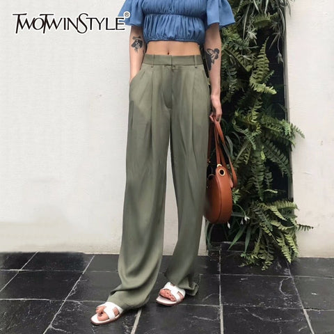 TWOTWNSTYLE Maxi Pants For Women High Waist Zipper Pocket Summer Big Large Size Long Trousers 2019 Fashion Elegant Clothing