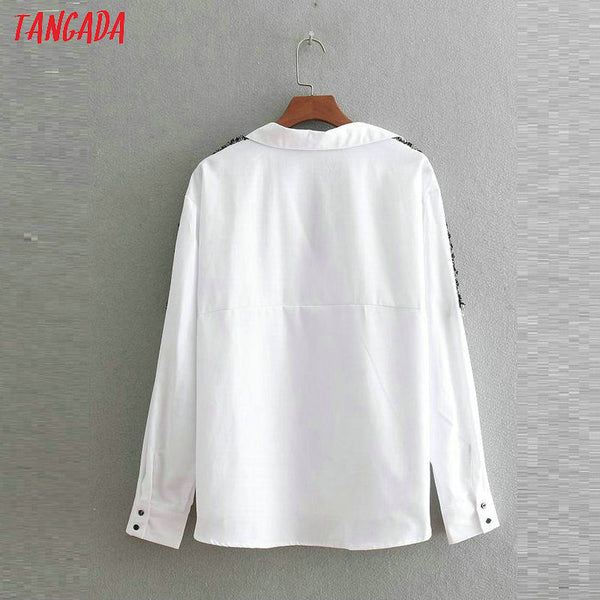 Tangada women side striped blouses office lady long sleeve turn down collar shirts white female tops blusas BE335