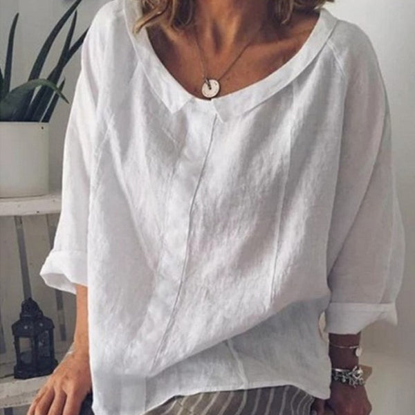 Womdee Women Tops Blouses 2019 Summer Casual Full-quarter Sleeve Solid Lapel Linen Blouse Female Shirts Blouse Plus Size