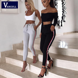 Women Side Stripe Retro Leggings Pants Ladies Vintage Elasitic Waist Ankle-Length Pants Autumn Fashion Casual Trousers 2018