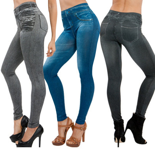 Women Thin Imitation Jeans Leggings High Waist Slim Fit Imitation Denim Pants Trousers JL