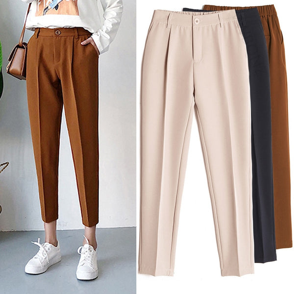 Women's Casual Harem pants Spring Summer Fashion Loose Ankle-length Trousers Female Classic High Elastic Waist Black Camel Beige