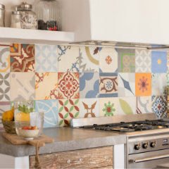 Encaustic Patchwork in an Ibiza kitchen