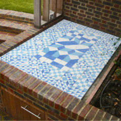 Bespoke Blue Patchwork Encaustic Tiles