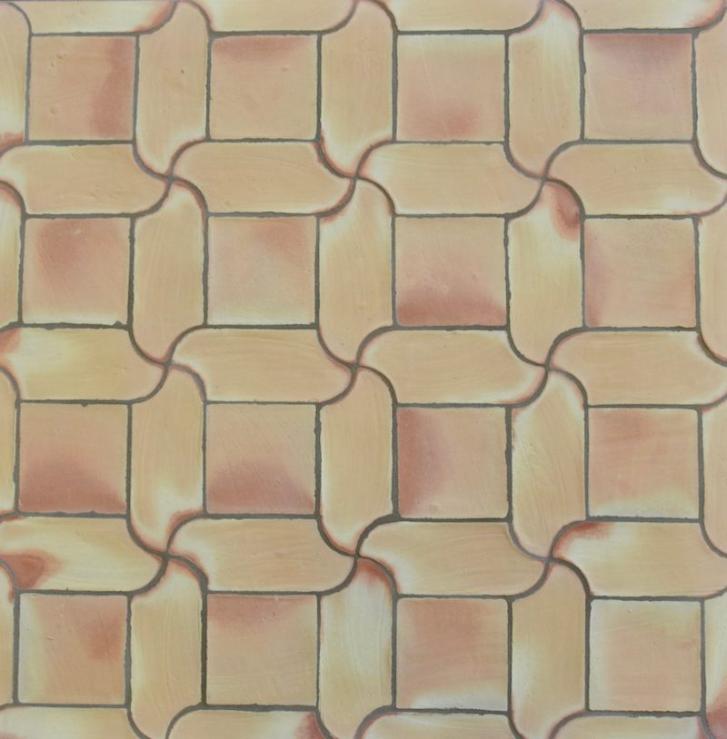 Terracotta: Handmade Moon Rectangle Tiles with Squares