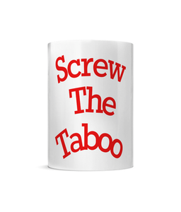 10oz Porcelain mug with handle - Screw The Taboo - It's Your Period
