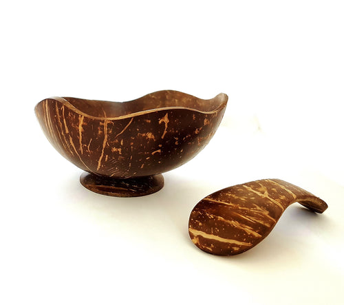 COCONUT CUP AND SPOON COMBO - WAVE DESIGN